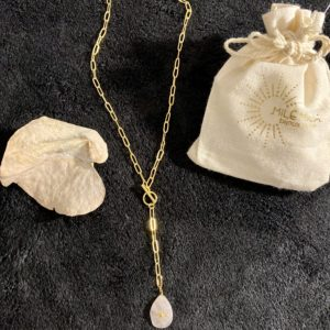 Collier doré quartz rose Milë Mila