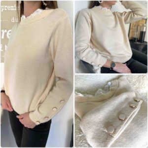 Pull beige col montant